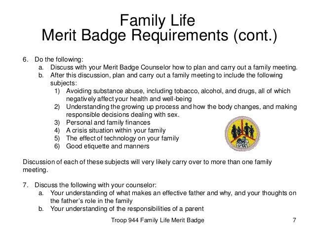 family life merit badge &