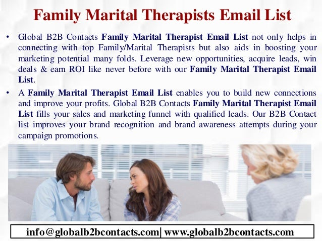 Family Marital Therapists Email List • Global B2B Contacts Family Marital Therapist Email List not only helps in connectin...