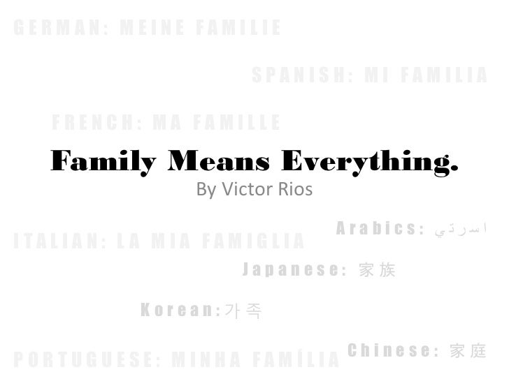 GERMAN: MEINE FAMILIE                     SPANISH: MI FAMILIA   FRENCH: MA FAMILLE   Family Means Everything.             ...