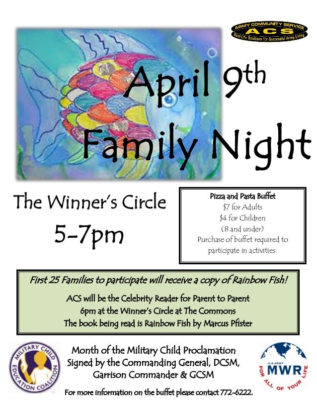 April                          9 th               Family NightThe Winner's Circle                                         ...