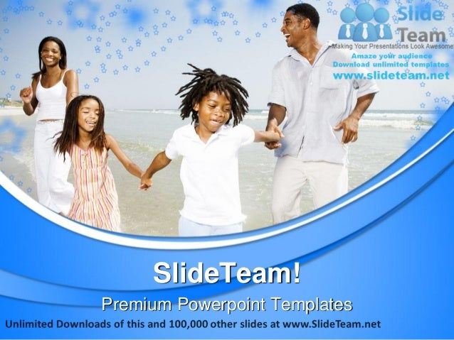 Family on beach vacation power point templates themes and