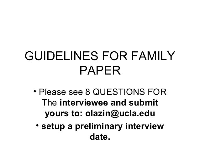 Family Paper Course Outline