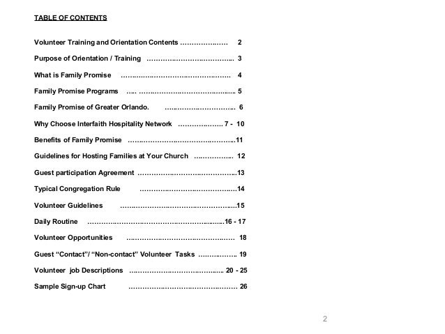 Family Promise Of Greater Orlandos Training Powerpoint - Table of contents in power point