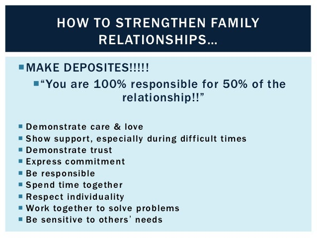 """HOW TO STRENGTHEN FAMILY             RELATIONSHIPS…MAKE DEPOSITES!!!!!  """"You are 100% responsible for 50% of the        ..."""