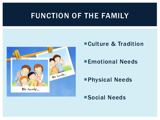 FUNCTION OF THE FAMILY           Culture & Tradition           Emotional Needs           Physical Needs           Soci...