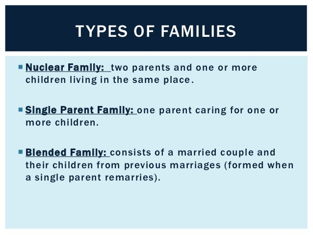 TYPES OF FAMILIES Nuclear Family: two parents and one or more  children living in the same place . Single Parent Family:...