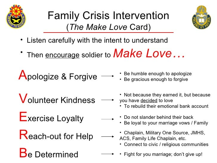 Family Crisis Intervention               (The Make Love Card) • Listen carefully with the intent to understand • Then enco...