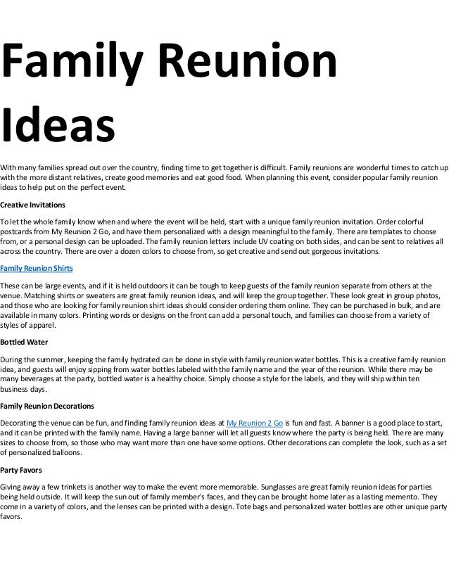 Family Reunion Ideas >> Family Reunion Ideas