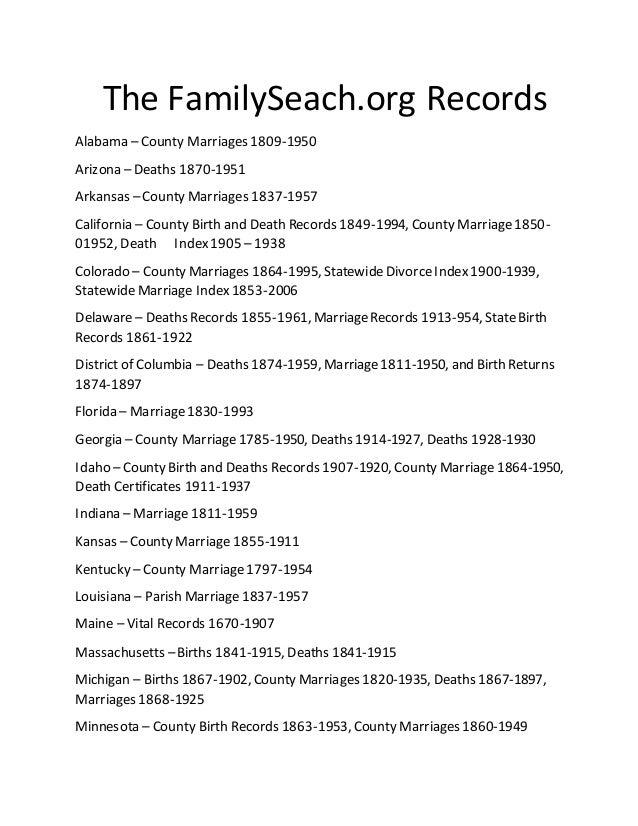 Family Seach Records