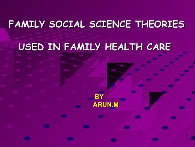 FAMILY SOCIAL SCIENCE THEORIESFAMILY SOCIAL SCIENCE THEORIESUSED IN FAMILY HEALTH CAREUSED IN FAMILY HEALTH CAREBYBYARUN.M...