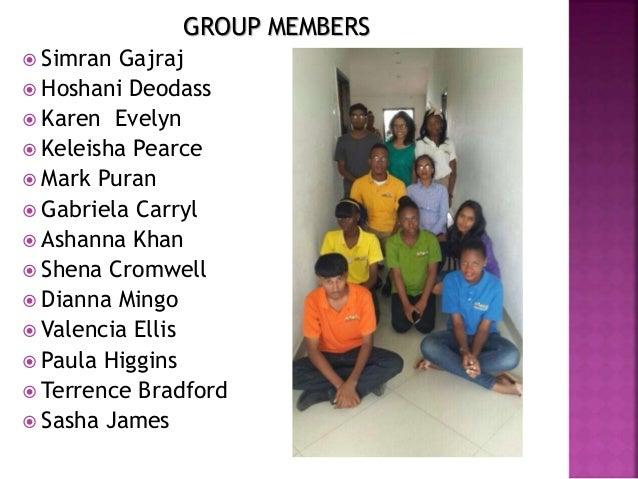 GROUP MEMBERS  Simran Gajraj  Hoshani Deodass  Karen Evelyn  Keleisha Pearce  Mark Puran  Gabriela Carryl  Ashanna ...