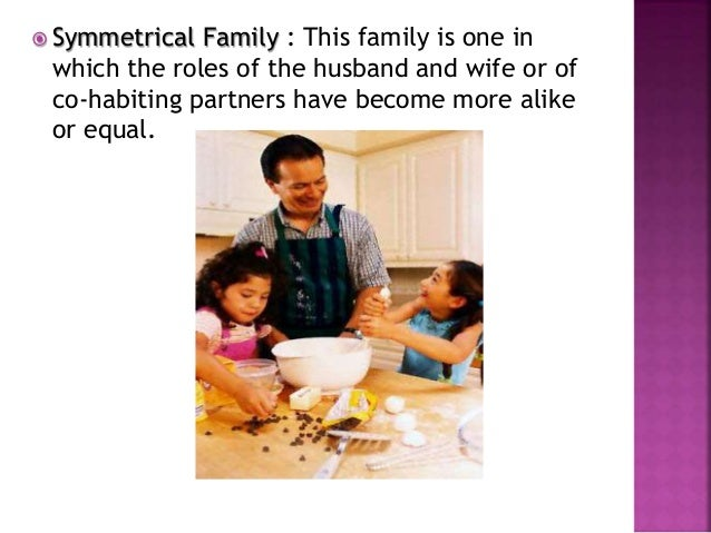  Symmetrical Family : This family is one in which the roles of the husband and wife or of co-habiting partners have becom...