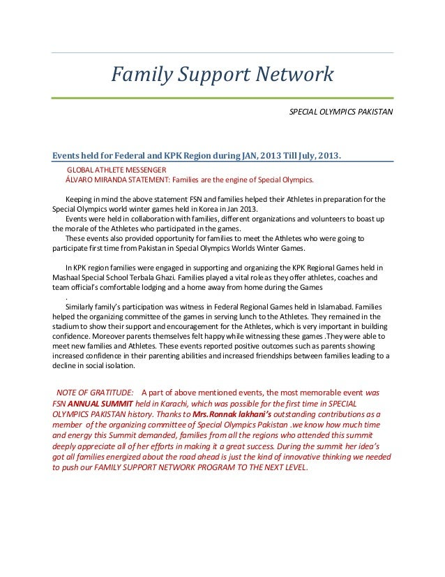 Family Support Network SPECIAL OLYMPICS PAKISTAN Events held for Federal and KPK Region during JAN, 2013 Till July, 2013. ...