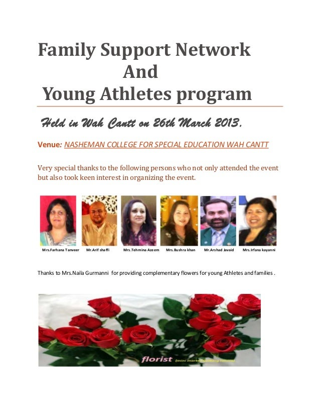 Family Support NetworkAndYoung Athletes programHeld in Wah Cantt on 26th March 2013.Venue: NASHEMAN COLLEGE FOR SPECIAL ED...