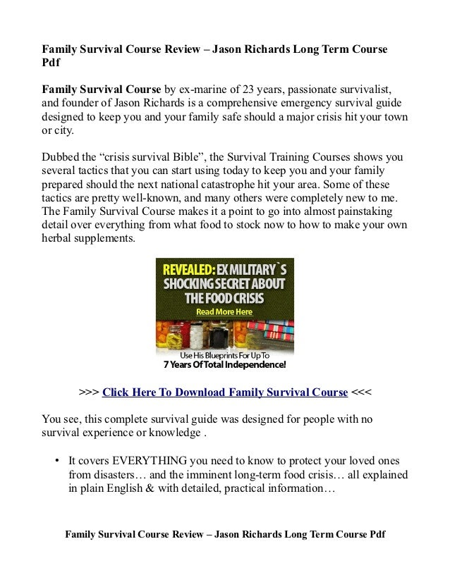Family Survival Course Review – Jason Richards Long Term Course Pdf