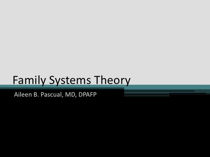 Family Systems Theory<br />Aileen B. Pascual, MD, DPAFP<br />