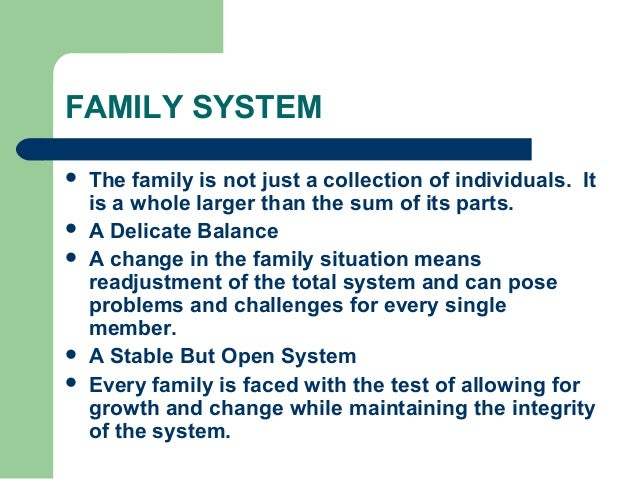 family systems theory The family systems theory is a theory introduced by dr murray bowen that suggests that individuals cannot be understood in isolation from one another, but rather as a part of their family, as the family is an emotional unit.