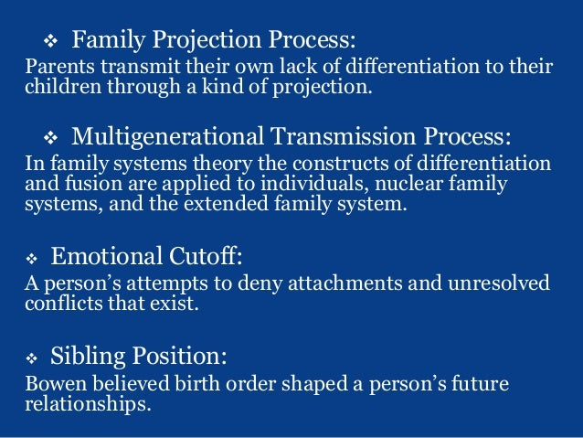 "family projection process The family projection process-this is an extension of the nuclear family  emotional process in many ways the family member who ""has"" the ""problem"" is ."