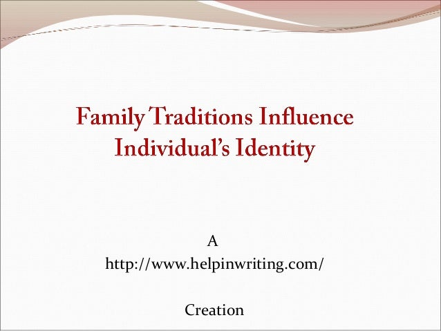 the outside influences to the identity of an individual Personal and social identity as differing levels  influence or modify the  which the self is defined in terms of others who exist outside of the individual.