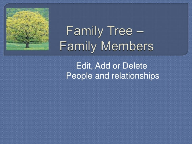 Edit, Add or DeletePeople and relationships