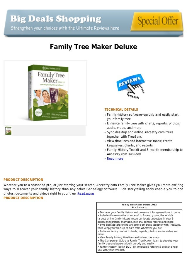 Family Tree Maker DeluxeTECHNICAL DETAILSFamily-history software--quickly and easily startqyour family treeEnhance family ...