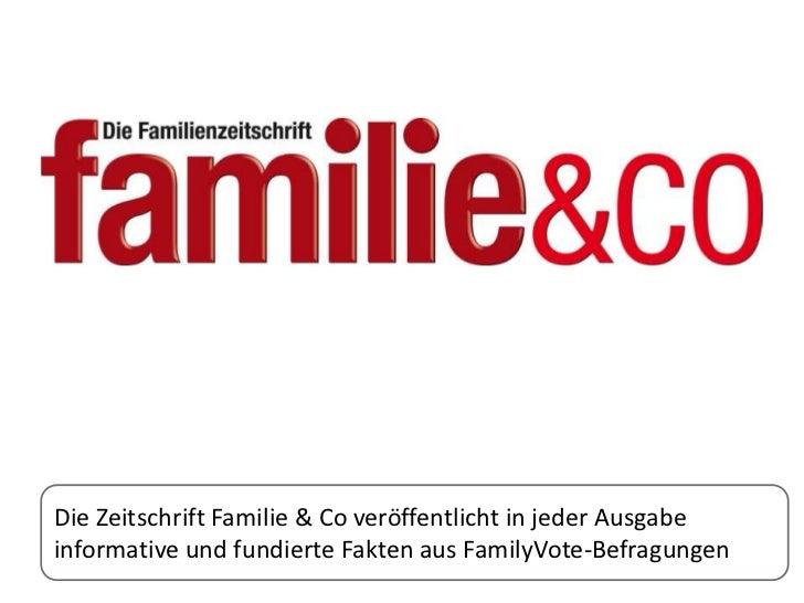 Die Zeitschrift Familie & Co veröffentlicht in jeder Ausgabeinformative und fundierte Fakten aus FamilyVote-Befragungen