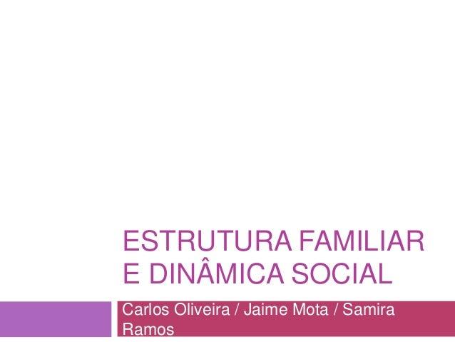 ESTRUTURA FAMILIAR E DINÂMICA SOCIAL Carlos Oliveira / Jaime Mota / Samira Ramos