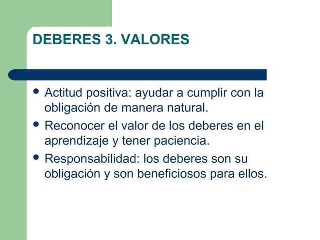 DEBERES 3. VALORES  Actitud positiva: ayudar a cumplir con la obligación de manera natural.  Reconocer el valor de los d...