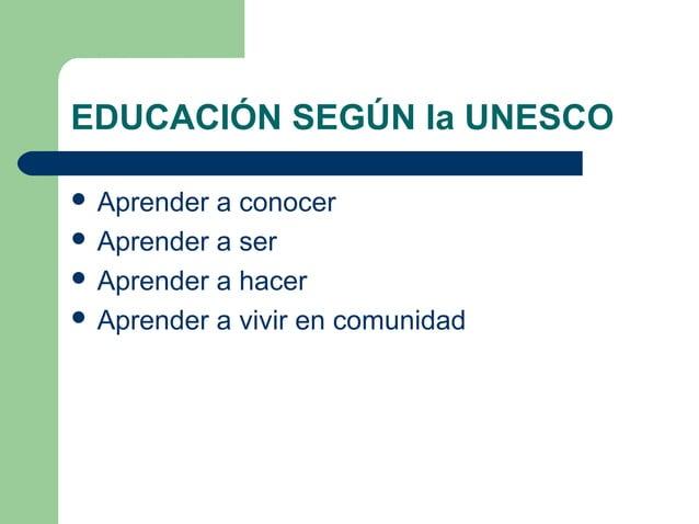 EDUCACIÓN SEGÚN la UNESCO  Aprender a conocer  Aprender a ser  Aprender a hacer  Aprender a vivir en comunidad