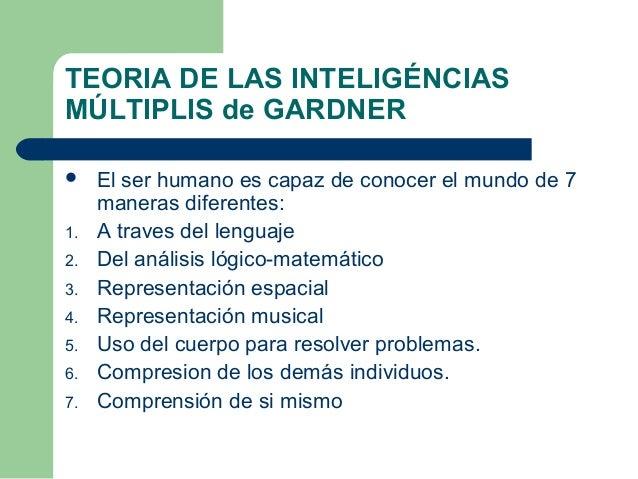TEORIA DE LAS INTELIGÉNCIAS MÚLTIPLIS de GARDNER  El ser humano es capaz de conocer el mundo de 7 maneras diferentes: 1. ...