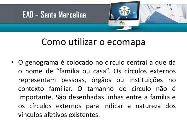 """Como utilizar o ecomapa• O genograma é colocado no círculo central a que dáo nome de """"família ou casa"""". Os círculos extern..."""