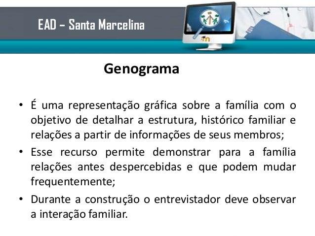 Genograma• É uma representação gráfica sobre a família com oobjetivo de detalhar a estrutura, histórico familiar erelações...