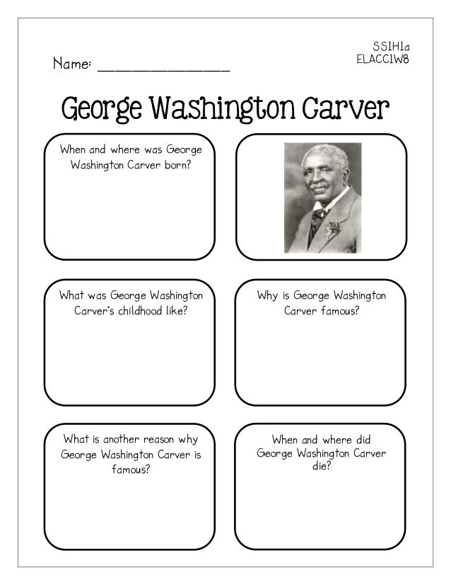 SS1H1aName: _______________                           ELACC1W8George Washington CarverWhen and where was George Washington...