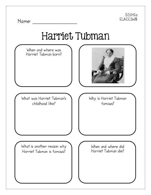 Famous americans graphic organizers – Harriet Tubman Worksheet