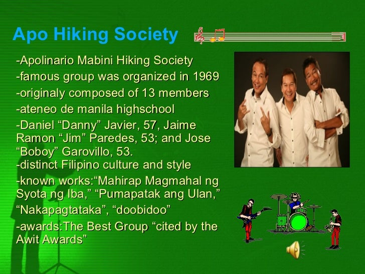 Apo Hiking Society-Apolinario Mabini Hiking Society-famous group was organized in 1969-originaly composed of 13 members-at...