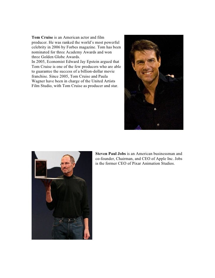 Tom Cruise is an American actor and film producer. He was ranked the world's most powerful celebrity in 2006 by Forbes mag...