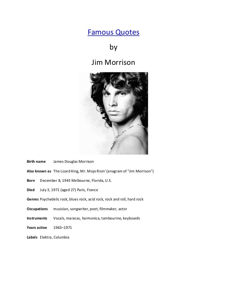 Jim Morrison Quotes Awesome Famous Quotes Jim Morrison