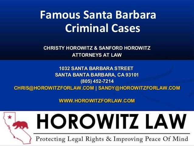 CHRISTY HOROWITZ & SANFORD HOROWITZCHRISTY HOROWITZ & SANFORD HOROWITZ ATTORNEYS AT LAWATTORNEYS AT LAW 1032 SANTA BARBARA...