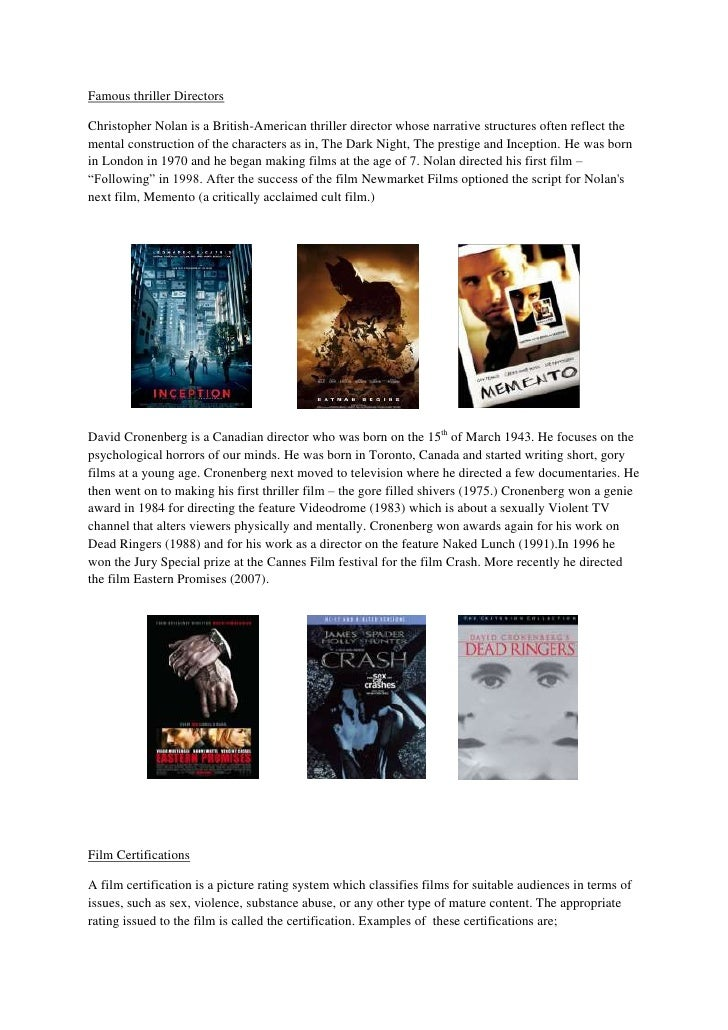 Famous thriller Directors <br />Christopher Nolan is a British-American thriller director whose narrative structures often...