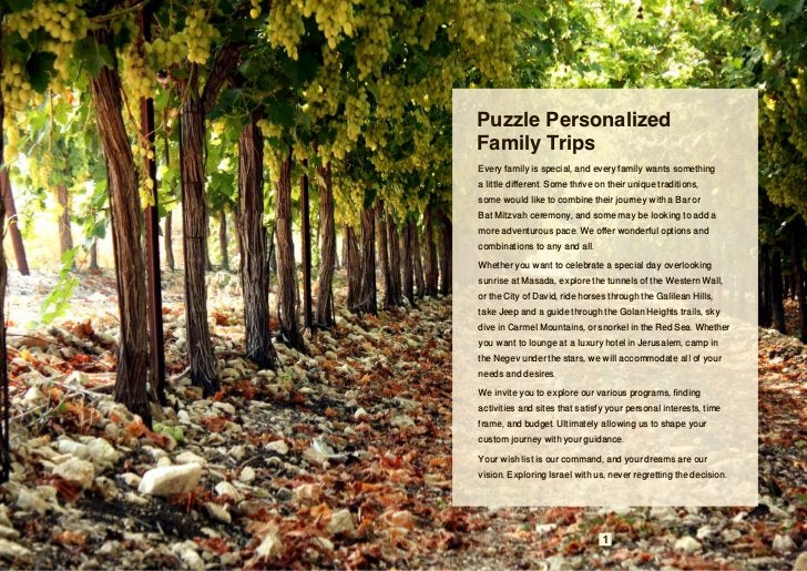 Puzzle PersonalizedFamily TripsEvery family is special, and every family wants somethinga little different. Some thrive on...
