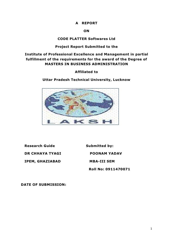 a   report<br />on<br />CODE PLATTER Softwares Ltd<br />Project Report Submitted to the<br />Institute of Professional Exc...