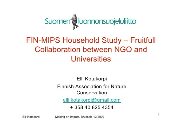FIN-MIPS Household Study – Fruitfull     Collaboration between NGO and               Universities                         ...