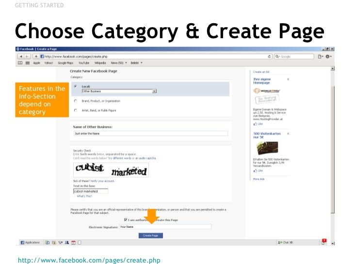 Choose Category Create Page