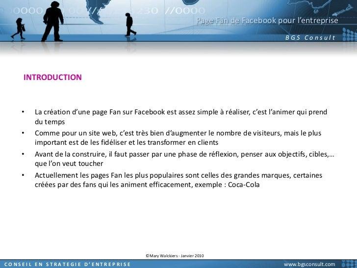 Page Fan de Facebook pour l'entreprise<br />INTRODUCTION<br />La création d'une page Fan sur Facebook est assez simple à r...