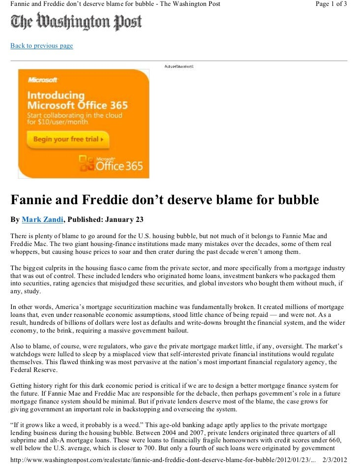 Fannie and Freddie don't deserve blame for bubble - The Washington Post                                       Page 1 of 3B...