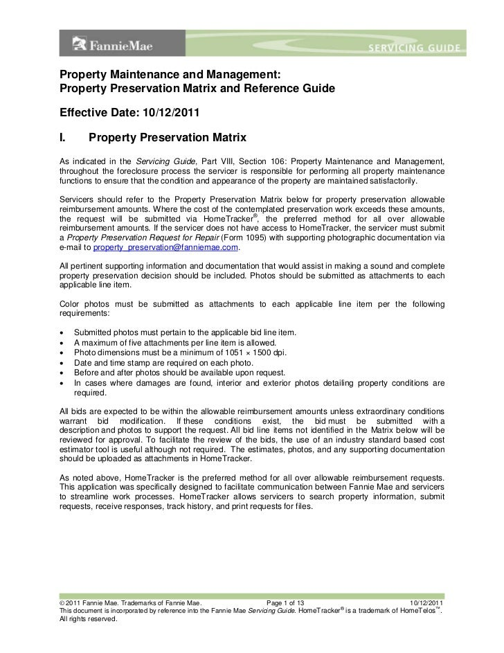 Property Maintenance and Management:Property Preservation Matrix and Reference GuideEffective Date: 10/12/2011I.        Pr...