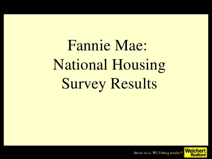 Fannie Mae:  National Housing Survey Results
