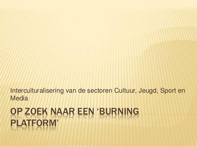 Interculturalisering van de sectoren Cultuur, Jeugd, Sport en Media  OP ZOEK NAAR EEN 'BURNING PLATFORM'