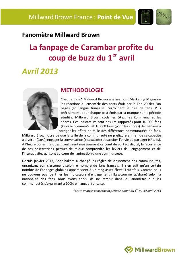 Fanomètre Millward BrownLa fanpage de Carambar profite ducoup de buzz du 1eravrilAvril 2013METHODOLOGIEChaque mois* Millwa...