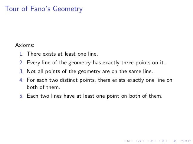 Tour of Fano's Geometry Axioms: 1. There exists at least one line. 2. Every line of the geometry has exactly three points ...
